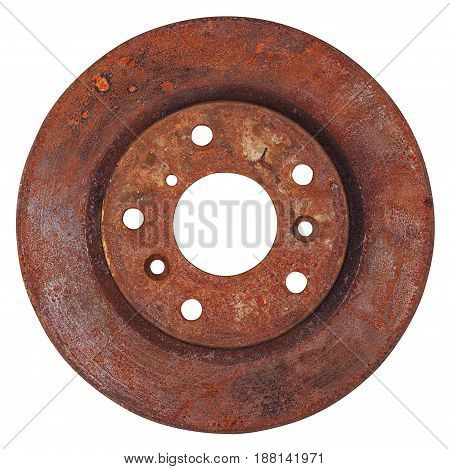 Old rusty brake disc from car isolated on white background