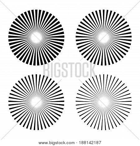 Set rays beams element. Collection starburst shape. Radiating radial merging lines. isolated on white background. Vector illustration. Eps 10