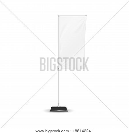 Advertising Banner Shield Mock Up Template. White Outdoor Panel Blade Straight Feather Flag isolated on background. Vector illustration. Eps 10