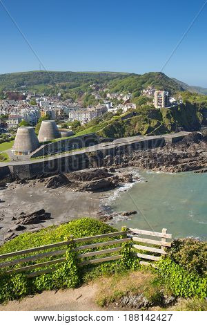 Ilfracombe North Devon coast tourist destination in summer with blue sky