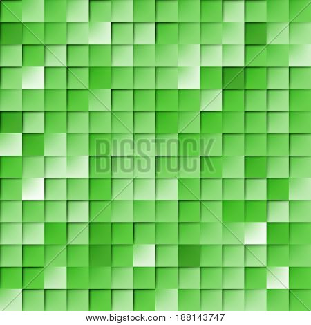 Abstract Random Tile of Green Colors of Various Tones and Saturation