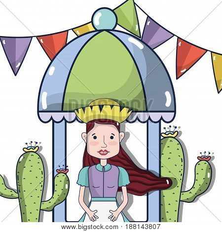 beautiful woman with hat, cactus and colorful party flag, vector illustration