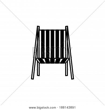 black silhouette of beach chair front view vector illustration