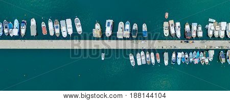 Aerial drone Top view photo of boats in the pier