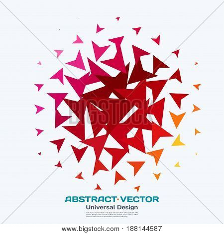 Abstract vector design elements for graphic layout. Modern business background template with red triangles, arrows, geometric shapes for tech, innovative technology.