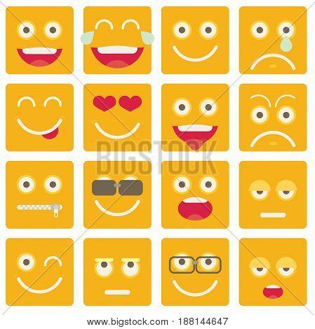 Set Of Emoticons. Set Of Emoji. Flat Style Illustrations