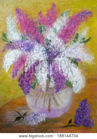 Pictorial greeting card with bouquet of vivid lilas in glass vase poster