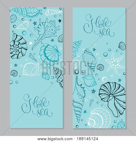 I love sea poster. Travel time vertical banner. Hand drawn sea shells and stars collection. Marine illustration of ocean shellfish. Seashells contour on blue background.