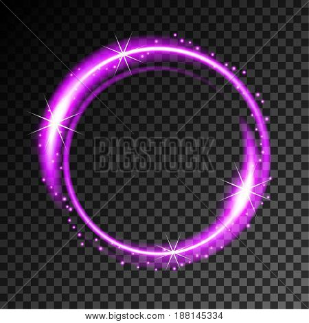 Abstract neon frame on transparent background. Vector Illustration