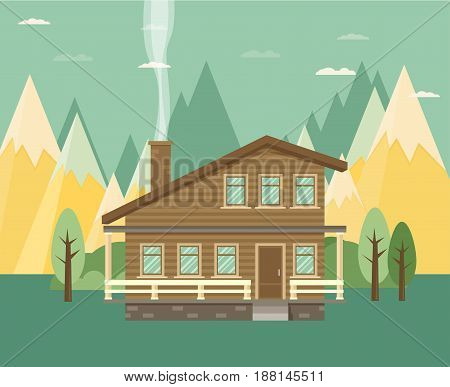 Chalet wooden house eco house house on the nature - vector flat illustration.