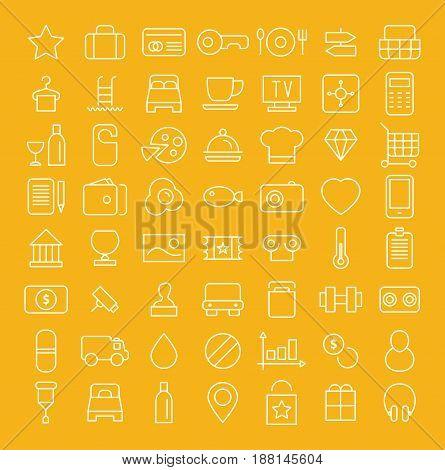 Line icon set. White symbols on yellow background