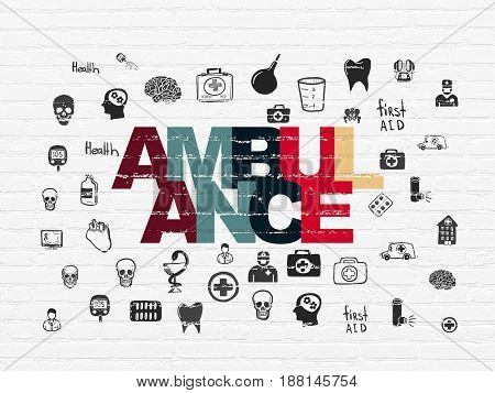 Health concept: Painted multicolor text Ambulance on White Brick wall background with  Hand Drawn Medicine Icons