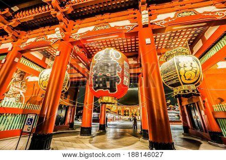 close up creative design entrance of Sensoji Temple taken at night in Tokyo Japan on 27 November 2016