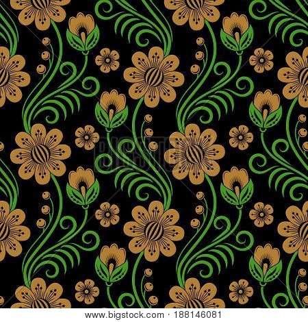 Floral seamless pattern in traditional russian style. Khokhloma painting. Vector Illustration