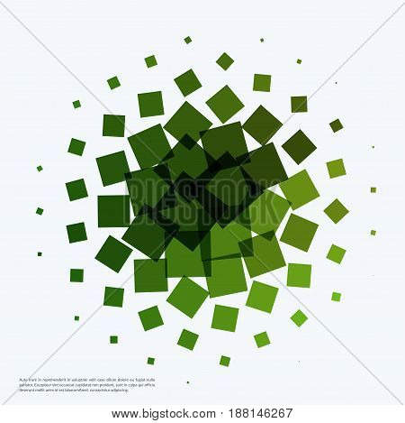 Abstract vector design elements for graphic layout. Modern business background template with eco green rectangles, squares for tech, building, urban, construction.