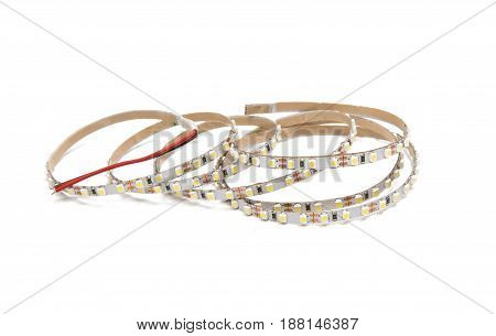 LED tape light isolated on white background