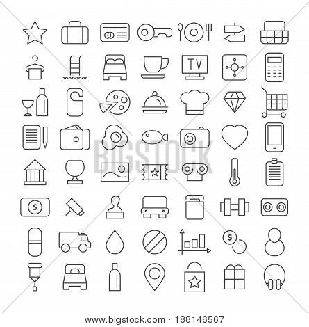 Line icon set vector isolated on white background
