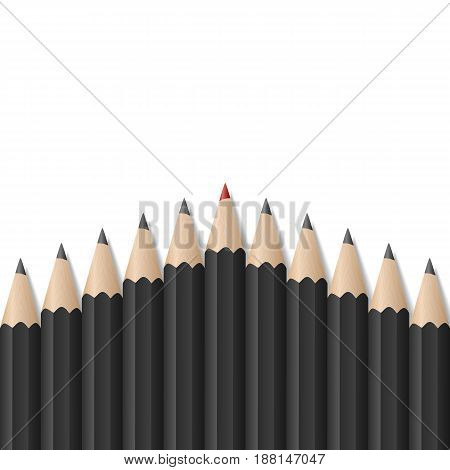 Single red pencil stands out amongst many black pencils. School supplies concept. Bussiness strategy. Leadership. Vector illustration