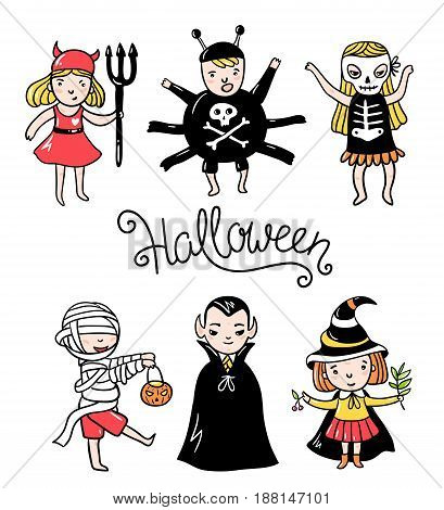 Set of halloween characters. Children in costumes. Vampire devil spiderzombie witch and skeleton isolated on the white background. Vector illustration.