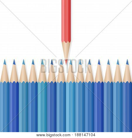 Single red pencil in opposite from many blue pencils. Bussiness strategy. Competition, opposition. School supplies concept. Vector illustration