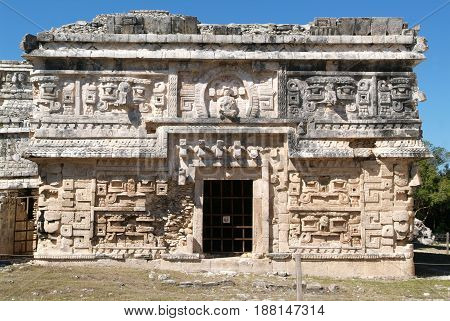 Building called Nunnery (Edificio de las Monjas) in the ancient Mayan city Chichen Itza on  Mexico