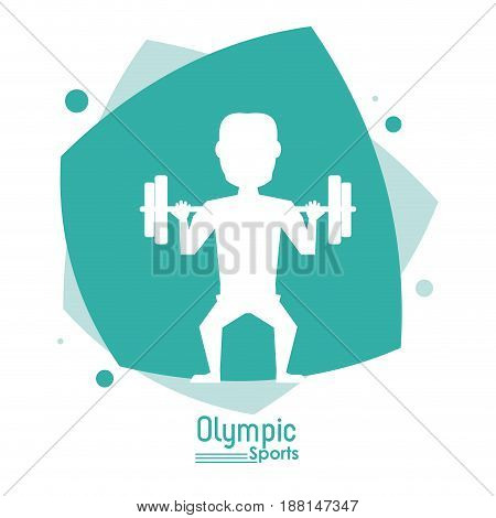 color abstract scene with silhouette faceless man lifting weights olympic sport vector illustration