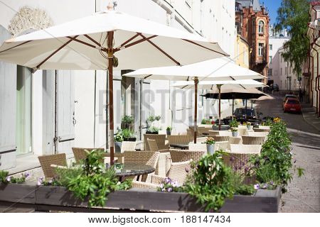 summer outdoor cafe in old european town