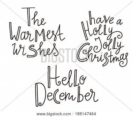 Christmas  holiday lettering. Vector illustration for greeting cards, invitations, and other printing projects.