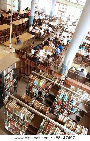 University of Karachi - Students are studying inside Mehmood Hassan Library 25/09/2012