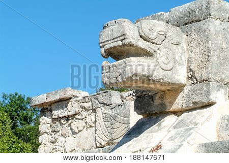 Jaguar Heads Of The Venus Platform, Chichen Itza