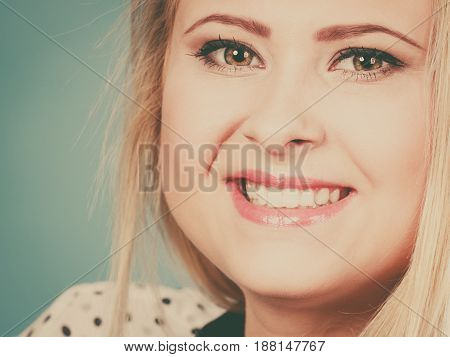 Closeup Portrait Of Attractive Smiling Woman