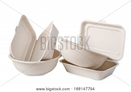 Group of product made from bagasse for container food Box bowl and cup. Isolated on white background Clipping path