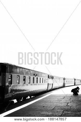 Photographer taking photographs at Karachi Cantt Station - 17-03-2013
