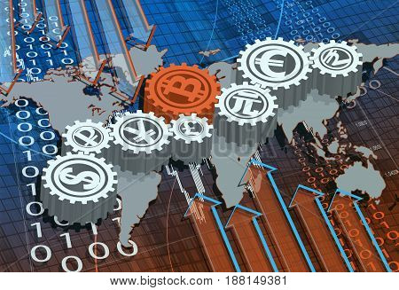 Business background with map with and symbols of world currencies including bitcoin