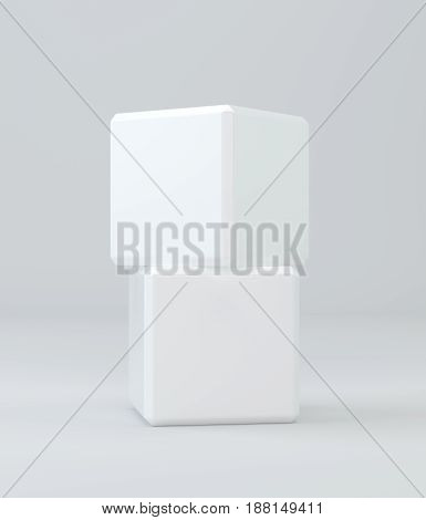 Two white cubes isolated on background. 3d rendering.