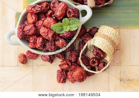Dried jujube fruits is tasty on wood background