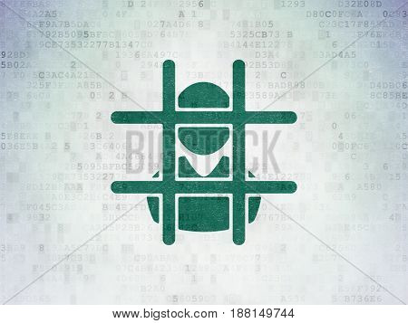Law concept: Painted green Criminal icon on Digital Data Paper background