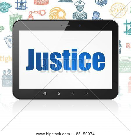 Law concept: Tablet Computer with  blue text Justice on display,  Hand Drawn Law Icons background, 3D rendering