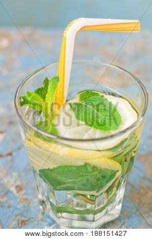 Summer refreshing drink with lemon and mint