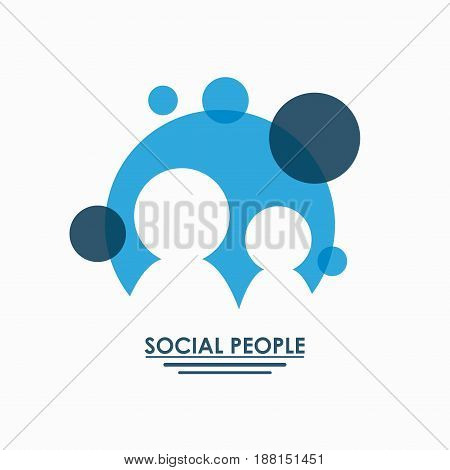 color teamwork social people with circular forms set silhouette pictograms vector illustration