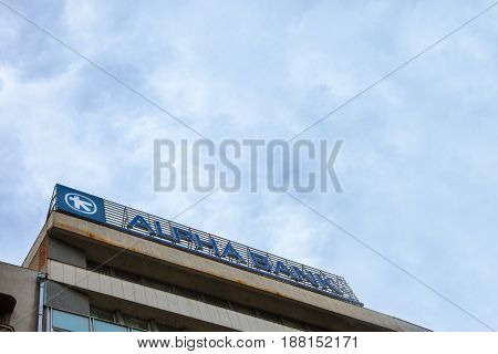 BELGRADE SERBIA - MAY 25 2017: Alpha Bank Serbia's main office in the center of Belgrade. Alpha Bank is Greece's 4th bank and one of the main banks in Serbia