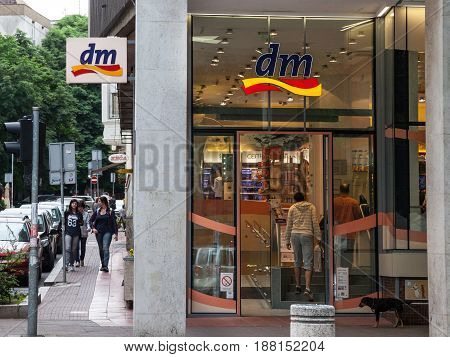 BELGRADE SERBIA - MAY 25 2017: DM shop in the center of Belgrade Serbian capital city. DM-drogerie markt is a chain of retail stores that sells cosmetics healthcare items household products and health food.