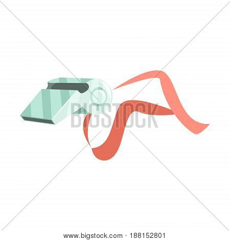 Sport whistle on red lace cartoon vector Illustration isolated on a white background