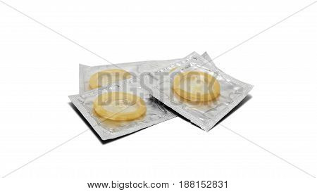 Condoms Pack On A White Background