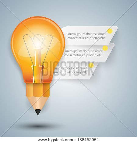 Business Infographics origami style Vector illustration.  Bulb icon. Light icon. Pencil icon.