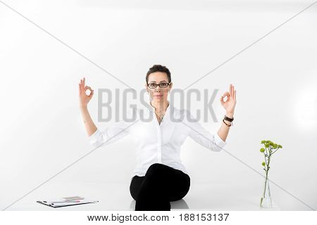 Portrait of cheerful female having rest during work. Copy space