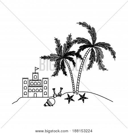 black silhouette of sandcastle and island with palm trees vector illustration