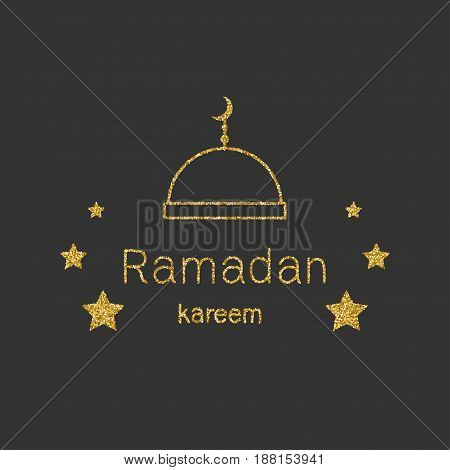 Ramadan Kerim mosque and stars. Template design for greeting card, banner, poster, invitation. Vector illustration.