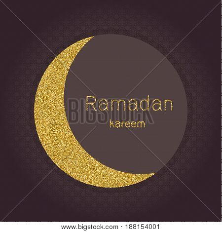 Ramadan Kerim, Arabic background with gold glitter moon. Template design for greeting card, banner, poster, invitation. Vector illustration.