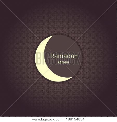 Ramadan Kerim, Eastern Arabic background with frame and white moon. Template design for greeting card, banner, poster, invitation. Vector illustration.